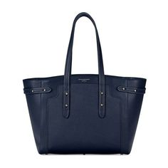 Aspinal of London Women's Marylebone Light Tote Bag - Navy (4,420 MYR) ❤ liked on Polyvore featuring bags, handbags, tote bags, blue leather purse, leather shopper tote, zippered tote, blue leather tote and leather handbags