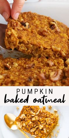Healthy Dinner Recipes Discover Healthy Pumpkin Baked Oatmeal This easy pumpkin baked oatmeal is made with oats pumpkin maple syrup pumpkin pie spice and cinnamon. Its vegan and gluten-free. Healthy Sweets, Healthy Breakfast Recipes, Healthy Baking, Brunch Recipes, Fall Recipes, Whole Food Recipes, Healthy Snacks, Cooking Recipes, Recipes With Quick Oats