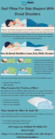 Which is the most popular sleep position? The sleep position guide has advice on how to pick best pillows for side sleepers. Best pillow for side sleepers? Best pillows for neck pain? Click this article to Reviews of a Few of the Best Pillows for back and Side Sleepers Old Pillows, Memory Pillows, Side Sleeper Pillow, Comfortable Pillows, Broad Shoulders, Trivia Questions, Back Pillow