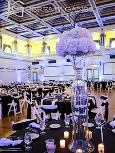 Soldiers & Sailors Memorial Hall & Museum | Pittsburgh Wedding Venue | Wedding Reception | Historic Wedding | Grand Ballroom | Lindsay & Chris | May Wedding | Linens by Mosaic | Chair Sashes | Black and White Wedding | Opening Night Catering | Jeremy Ganss Entertainment | Centerpieces by City Stems