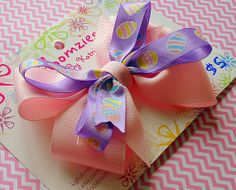 Easter Pink and Purple Hairbow with Easter Egg Print by Bloomzies, $5.00