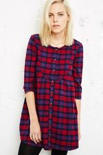 Cooperative Bibbed Dress in Tartan at Urban Outfitters