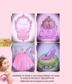 Cinderella Nursery, Cinderella Art, Cinderella Dresses, Princess Wall Art, Princess Nursery, Pink Princess, Nursery Wall Art, Girl Nursery, Nursery Decor