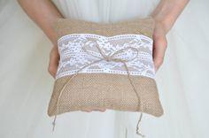 Rustic Ring Pillow Burlap ring pillow White or Ivory lace Burlap ring bearer cushion by NatalysWeddingArt