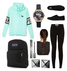 """Outfit for school #3"" by jasmeen-brar on Polyvore featuring Victoria's Secret PINK, Vans, JanSport, Olivia Burton, Waterford and Burberry"