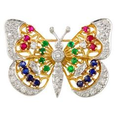 Tallahassee Platinum Multi-Stone Butterfly Pin