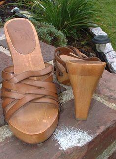 Women Mia Woven leather sandals stylish wooden heels open toe sz 8  #mia #Mulesheels