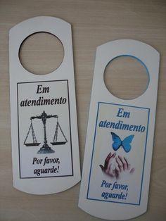 Placa para Maçaneta Psicologa e Advogado   ARTESANATOS DANIELA   Elo7