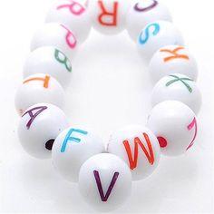 ZALAGO Alphabet Beads Wuerfel Buchstaben Perlen Beads fuer Kette Armbaender 8mm,300stk