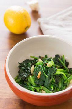 Garlic Lemon Spinach via @PBS Food
