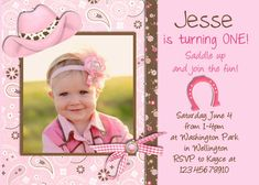 Hey, I found this really awesome Etsy listing at https://www.etsy.com/listing/153775204/cowgirl-birthday-party-invitation