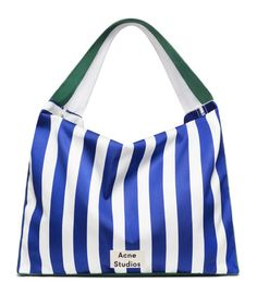 Acne Studios Grande plage L blue /white stripes is a large, striped fabric bag perfect for stashing beach necessities. Striped Bags, Plaid Fashion, Best Bags, My Boutique, Cotton Bag, Fashion Books, Vintage Denim, Women's Accessories, Gym Bag