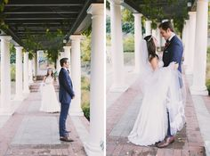 Bride and groom first look at Villa Montalvo