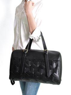 Summit Duffle in Black Woven Leather - Luxury Bags   Welden