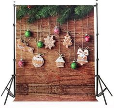 Gingerbread Cookies & Christmas Ornaments Photography Studio Backdrop with…