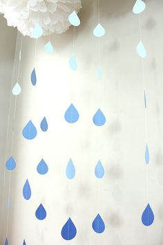 Raindrops Paper Garland Blue Ombre Set of 6 or By the Strand