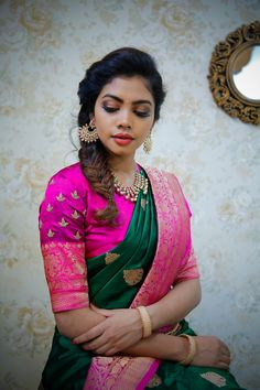 Stunning green and purple color combination designer saree and purple color designer blouse with hand embroidery work. Blouse with jari sleeves. Saree with big gold jari boarder. 31 May 2019 Indian Bridal Sarees, Indian Bridal Wear, Indian Wear, Saree Blouse Patterns, Saree Blouse Designs, Engagement Saree, Engagement Hairstyles, Saree Hairstyles, Indian Hairstyles
