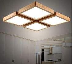 Ceiling Led Light Fixtures Modern brief Wooden led ceiling light square minimalism ceiling-mounted luminaire japanese style lustre for dining room Balcony. Ceiling Light Design, Modern Ceiling, Light Fittings, Light Fixtures, Square Light Fixture, Home Lighting, Lighting Design, Balcony Lighting, Lighting Ideas
