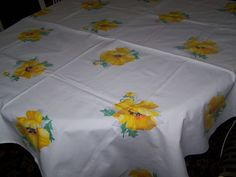 Vintage Wilendur Floral Tablecloth Yellow Dahlia Flowers Unused Condition | eBay