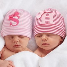 Initial Monogrammed Baby Hat for Girls - Largest Twin Store & Twin Gift Registry!