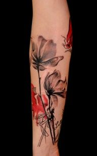 Watercolor tattoo. Wanted no color but love these accents with red