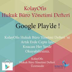 KolayOfis Hukuk Büro Yönetimi Defteri Google Play 'de ! Google Play Books ( Kitaplar ) Bölümünden KolayOfis Hukuk Büro Yönetimi Defteri 'ni Ücretsiz Olarak İndirebilirsiniz. http://www.microdestek.com.tr/ar-ge/kolayofis-hukuk-buro-yonetimi-defteri