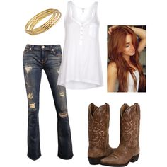 Cowgirl outfit, hair, jeans, boots, jewelry by clancy-jeriah-gloor, via Polyvore