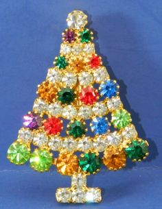 Rhinestone Christmas Tree Pin Vintage by QueeniesCollectibles, $21.99