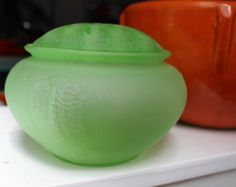 L.E. Smith Green Frosted Bowl and Flower Frog