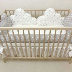 Size: Suitable for American Standard Cribs. Contents: 1 Duvet Cover x 1 Headboard Protector x 2 Side Covers x 1 Cover Sheet x 1 Bottom Sheet with Elastic x x height 1 Pillowcase x 1 Mosq . Baby Room Diy, Baby Bedroom, Baby Boy Rooms, Baby Room Decor, Nursery Room, Quilt Baby, Baby Cot Bumper, Diy Bebe, Baby Sewing Projects