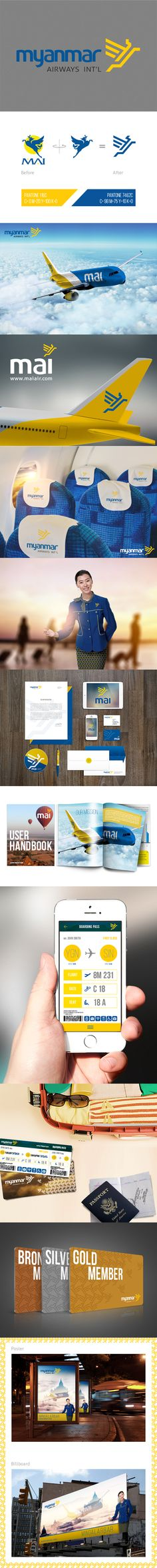 This project is not an actual commercial purpose. It is just a concept of re-branding an airline company in Myanmar.