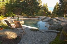 Shallow Garden Pool  (Lined & Boardered w/Granite Stone)