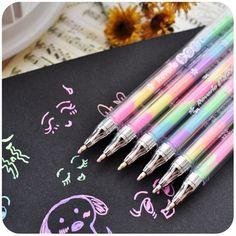 Álbum de fotos apoyos del arco iris segmentado coloridas bolígrafos de tinta Gel para los niños DIY negro tarjetas del libro de recuerdos álbum de fotos apoyos álbum