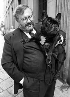Gianfranco Ferre and his dog Argo in 1990. wmagazine.com  Repinned by Hale Harden | #HHLifestyle #HaleHarden #LuxuryLife #Frenchies