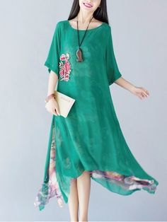 Floral Printed Embroidery Irregular Hem Layered Women Elegant Dress Shopping Online - NewChic Mobile.