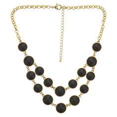 "Women's Bib Necklace with Stones - Gold/Black (17"")"