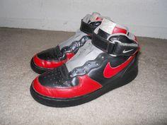 Nike Air Force Mid 1 315123-007 Black Chilling Red sz 8 #Nike #BasketballShoes