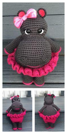 Amigurumi Cute Hippo Free Pattern - Modèles d& gratuits Crochet Hippo, Crochet Animal Amigurumi, Crochet Amigurumi Free Patterns, Crochet Animal Patterns, Stuffed Animal Patterns, Cute Crochet, Crochet Crafts, Crochet Dolls, Crochet Baby