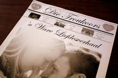 Troukoors Trou Koerantjie - Read all about Charl and Talitha's customised Afrikaans newspaper wedding favor, Die Troukoors, written in Afrikaans, and styled in a French & Vintage-inspired design to match their wedding theme! The couple and their romantic love story dazzles on the cover page! ♥ #wedding #newspaper #favor #trou #koerant