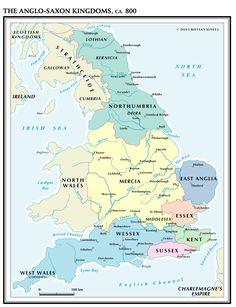 The Anglo-Saxon Kingdoms, CA. 800 – Vivid Maps The Anglo-Saxon Kingdoms, Circa 800 Anglo Saxon History, European History, British History, Ancient History, Anglo Saxon Kingdoms, Map Of Great Britain, England Map, Roman Britain, The Last Kingdom
