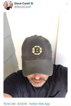 Steve Carell, Boston Bruins, Baseball Hats, Baseball Caps, Caps Hats, Baseball Cap, Snapback Hats