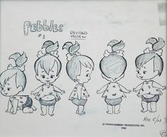 #Pebbles conceptual profile; front-side-back #sketch by #HannaBarbera.