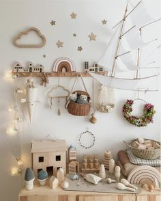How beautiful is this whimsical and creative nursery and playroom by featuring our Olli Ella MInichari and Holdie House olliella luggy holdiehouse minichari girlsbedroom Nursery pla is par - Boho Nursery, Nursery Neutral, Nursery Room, Nursery Decor, Playroom Decor, Whimsical Nursery, Bedroom Decor, Bedroom Ideas, Baby Room Boy