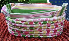 Polka Dots and Stripes Rag Basket