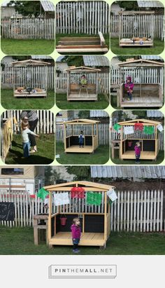 A big sister gift. - Playing House Full Time - Wooden playhouse from pallets and other found materials.