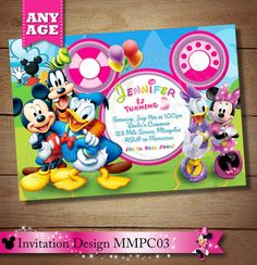 HUGE SELECTION Mickey Minnie Mouse Clubhouse Invitation, Mickey Minnie Daisy Donald Goofy Birthday Invitation, Clubhouse Birthday Invitation...