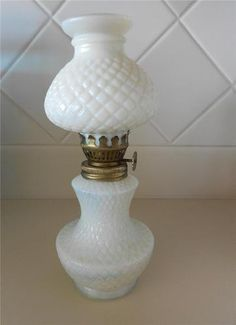 Vintage Mini Milk Glass Oil Lamp Diamond Pattern Original Shade | eBay