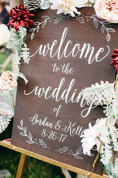 Welcome to the Wedding Wood Wedding Sign with Names and Date