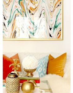love this color palate and the gold grouping on the coffee table | South Shore Decorating Blog: Rooms With Flair!