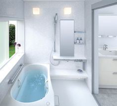 Love this shower room with the bathtub and slider...